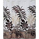 Hawaii Theme 100% Polyester Fabric Shower Curtain Maroon Brown Color Turtle and Monstera Leaf