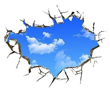 8a74cf42d77bc EOZY Sticker Mural 3D Bleu Ciel Nuage Autocollant Mur Toit De Sall Chambre  Adulte