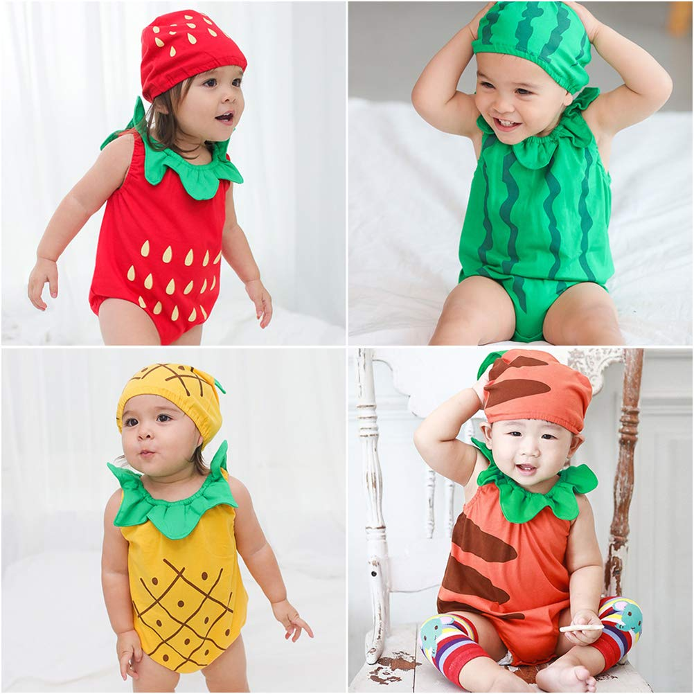 TENDYCOCO Infant Baby Jumpsuit Sleeveless Fruit Pineapple Jumpsuits Romper with Hat Fancy Costume Photo Prop
