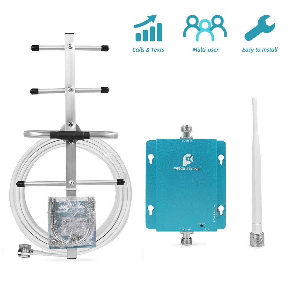 Cell Phone Signal Booster for Verizon AT&T 2G 3G Home and Office Use - Reduce Dropped Calls by 850MHz Band 5 Cellular Repeater Amplifer Kit with Whip/Yagi Antennas by P PROUTONE
