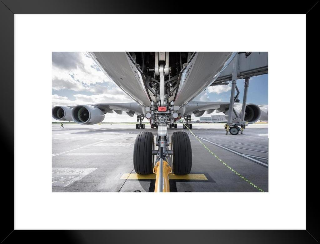 Underside View of A380 Aircraft About to Taxi Photo Art Print Framed Poster 20x14 inch Poster Foundry 145216
