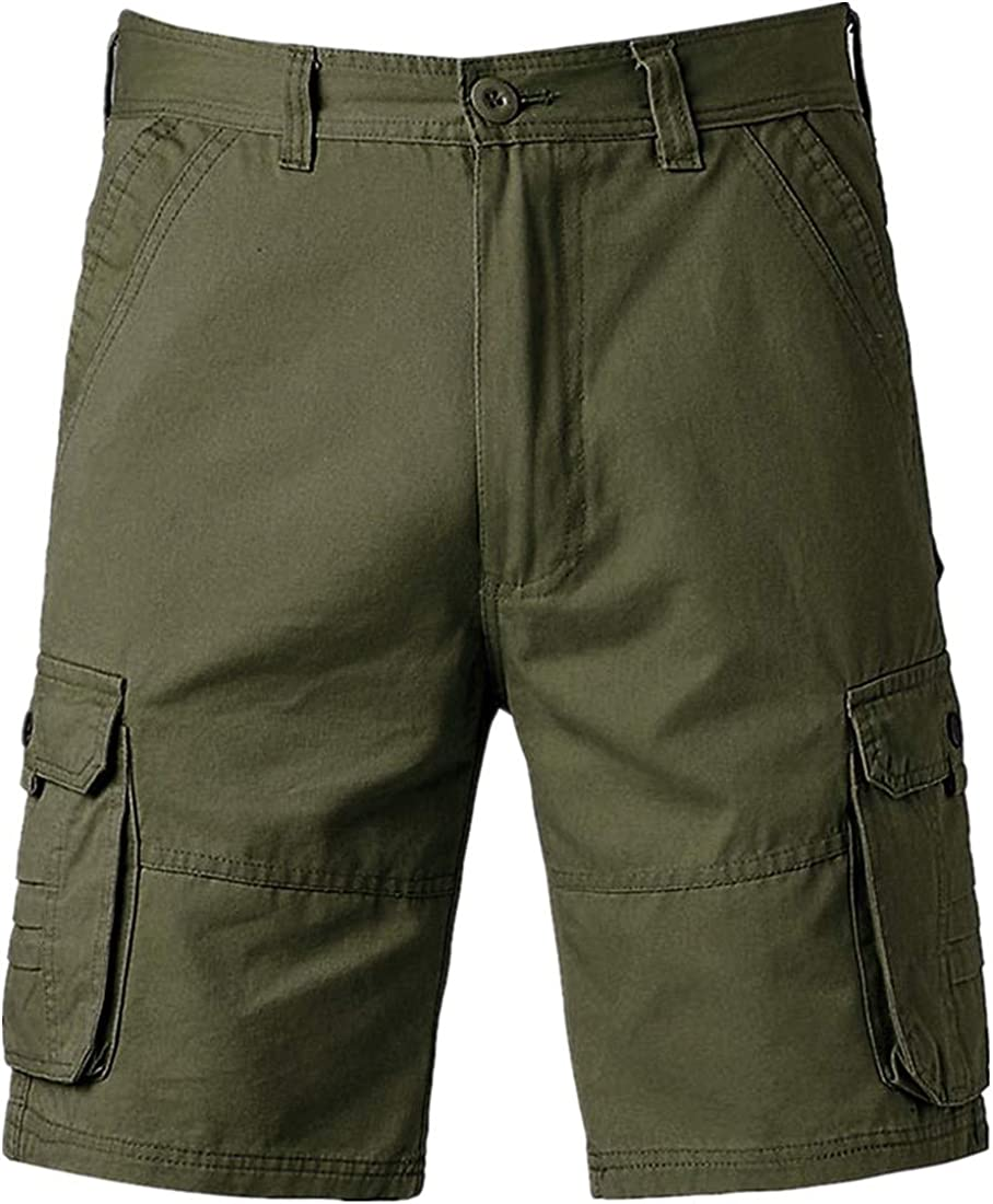 Emerayo Mens Solid Cotton Camo Cargo Shorts Cotton Relaxed Fit Multi-Pockets Outdoor Cargo Shorts