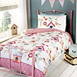 None Childrens Girls Bird House Design Twin Duvet/Bedding Set (Twin) (Multicolored)