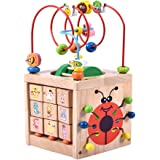 Activity Cube Bead Maze Toy-Acwenie 7 in 1 Play Centre Wood Toy Playset For Kids and Babies,Including 7 Games in 1 Set