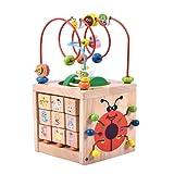 Attività Cubo Perlina Labirinto Giocattolo-Acwenie 7 in 1 Giocare Centro Giocattolo di Legno Per Bambini e Neonati,Compresi 7 Giochi in 1 Set
