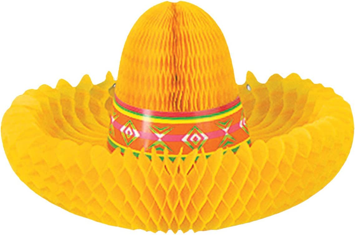 Beistle Tissue Paper Fiesta Sombrero Centerpiece Cinco De Mayo Mexican Theme Table Party Decorations Supplies