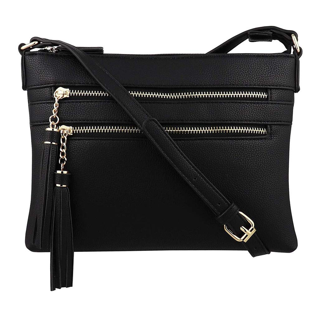 Mini Zipper Crossbody Handbag Purse with Tassel Shoulder Bags Messenger Bag Phone Bag for Women (Black)