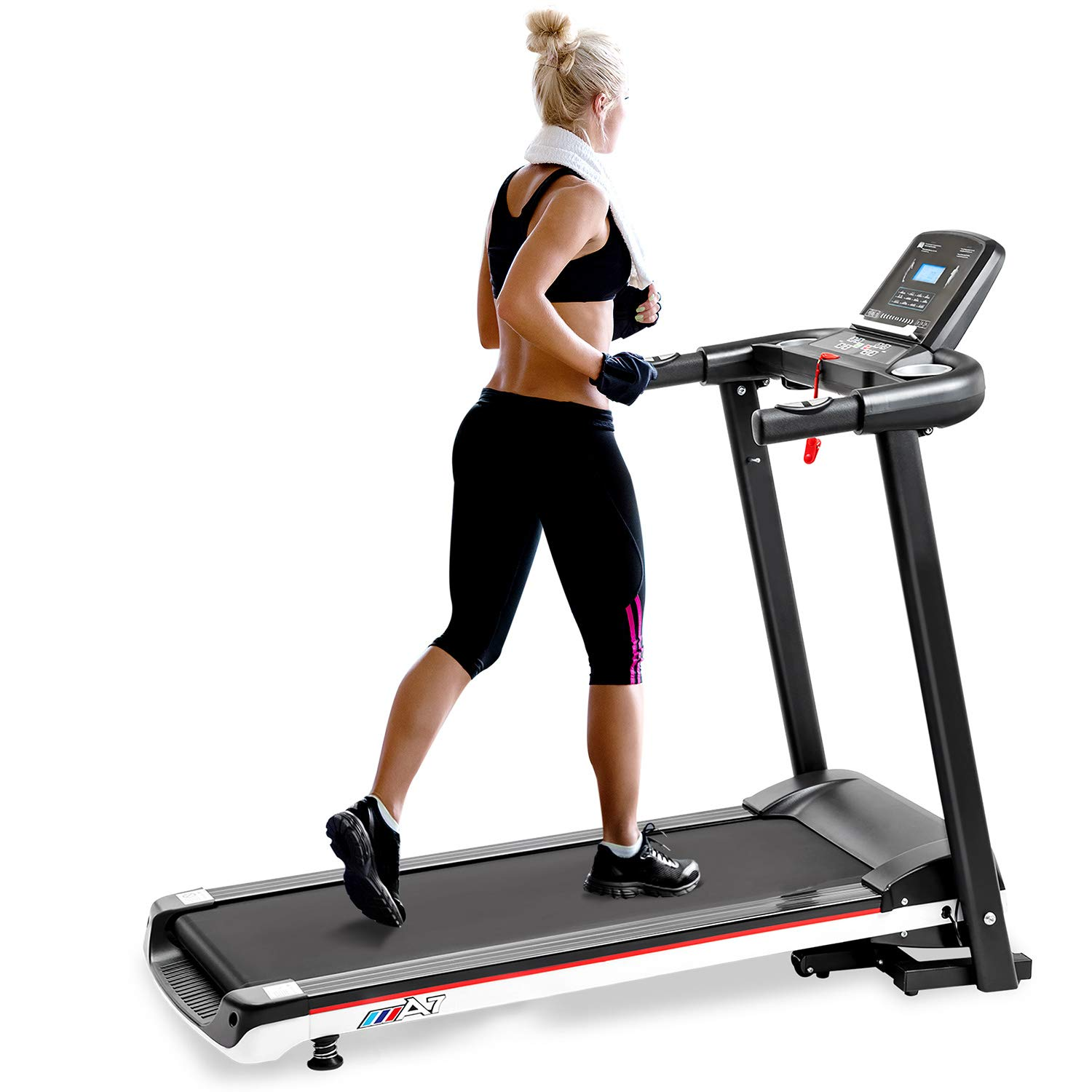 Hindom Foldable Treadmill, Portable Electric Motorized Running Machine for Home Office Fitness