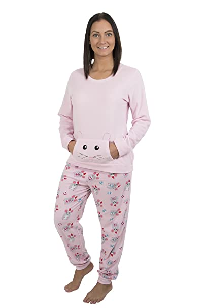 354fe974b9 Alki i Women s Light Weight Fleece Pajama Set With Kangaroo Pockets ...