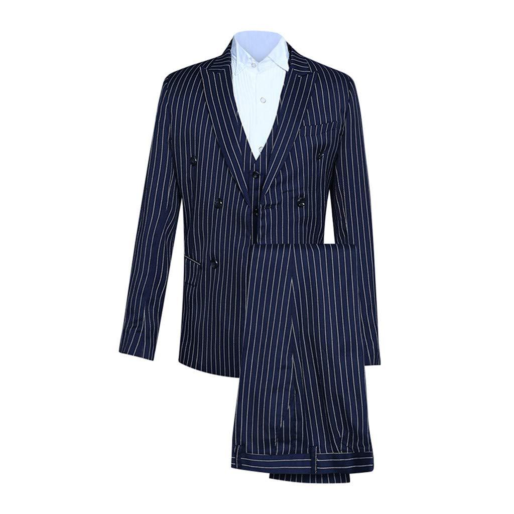 F_ Gotal Men's 3 Pieces Suit Elegant Solid One Button Slim Fit Single Breasted Party Blazer Vest Pants Set Lapel Suit Navy by F_Gotal Mens blazer