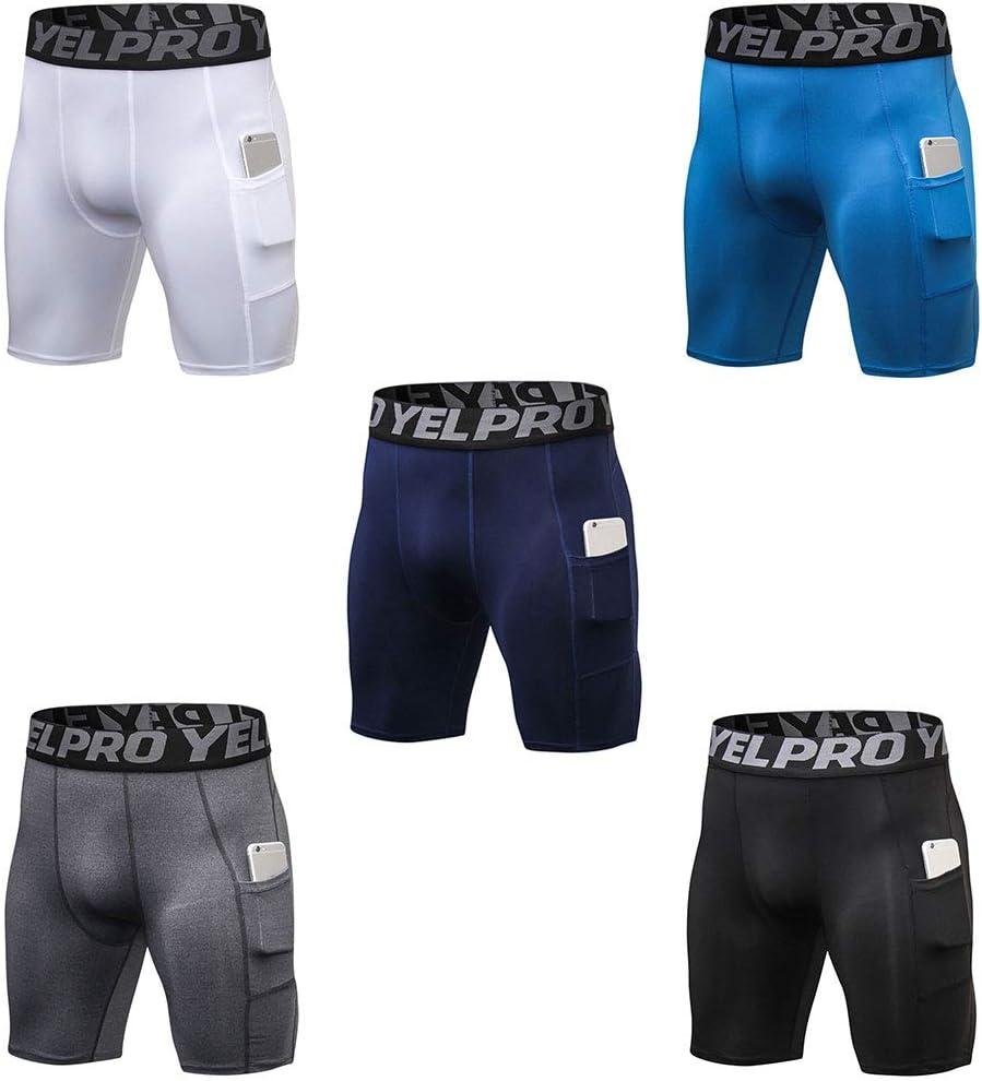 Negro-M ruiruiNIE Pantalones Cortos de compresi/ón de Talla Grande para Hombre de Laterales Leggings Deportivos de Secado r/ápido Lentes Ultra Anchas Cintura Capa Base Mallas para Correr