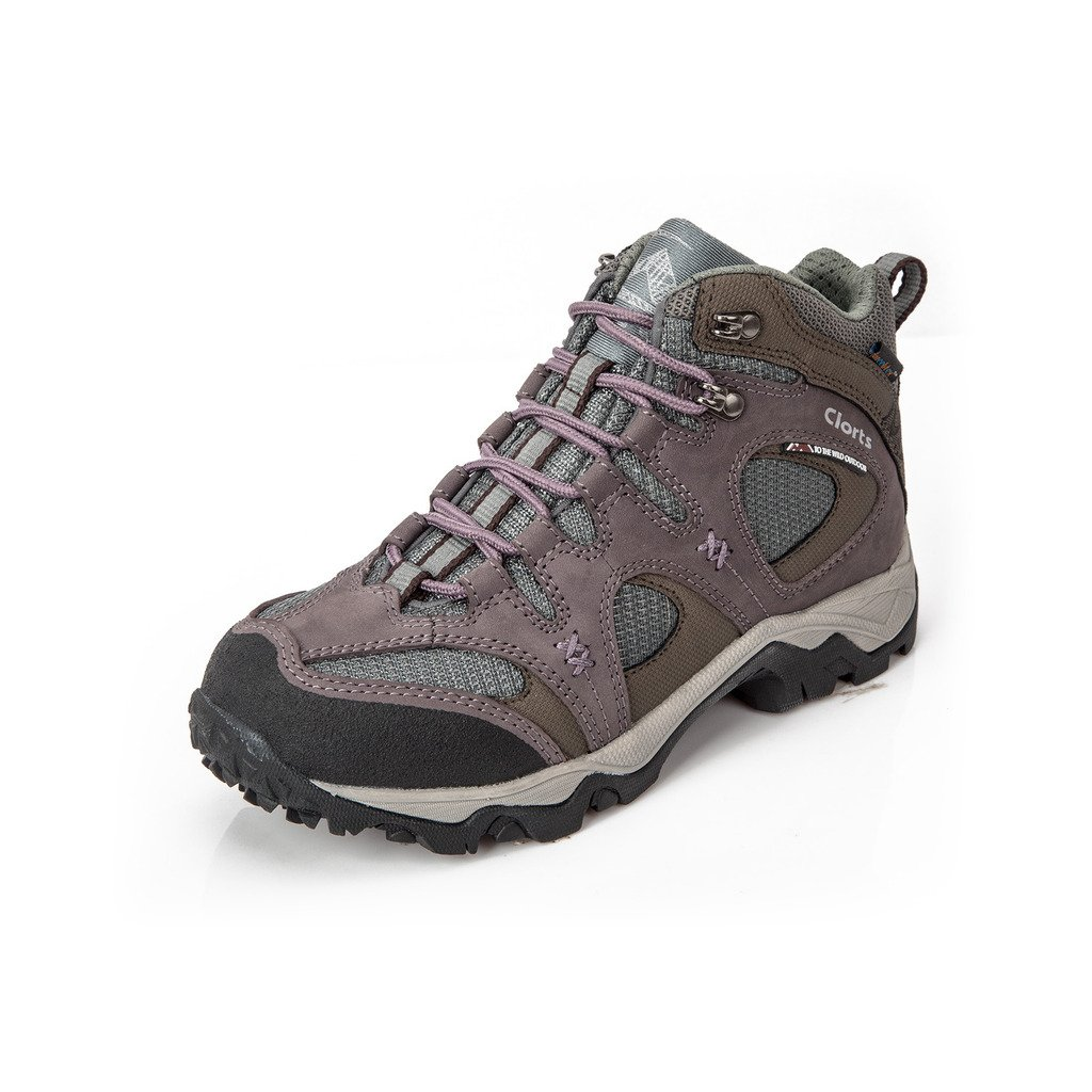 Clorts Women's Nubuck Leather Uneebtex Waterproof Mid Hiking Boot Outdoor Trekking Shoe Purple HKM-820C US8.5