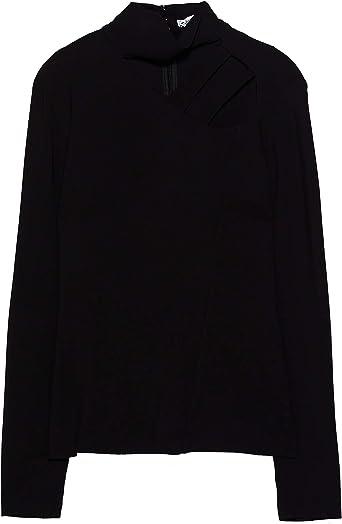 Zara 8230/414/800 - Camiseta Plisada para Mujer - Negro - X ...