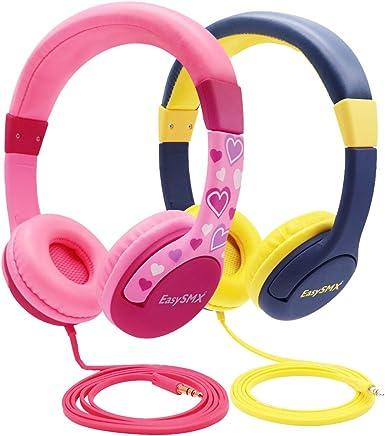 EasySMX 2-Pack Auriculares Niños, [Regalos] Cascos de Diadema para Niños, Auriculares Infantiles con Cable 3.5 mm Jack, Volumen Limitado de 85dB, Matería Saludable ABS para Niños (Azul y Rosa): Amazon.es: Electrónica