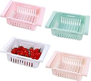 "4PCS Fridge Drawer Organizer, Retractable Pull-Out Fridge Shelf Holder Storage Box Home Kitchen Space Saver Under Shelf Fridge Organizer Box for Fridge Shelf Under 0.5"""