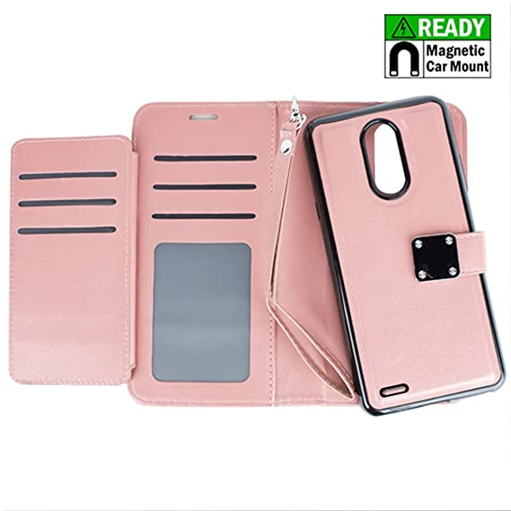 new product 841e9 197f2 LG Stylo 4 Cellphone Case - TRSUSA Magnetic Detachable Wallet Case, Built  in Metal Plate, TPU + PU Leather Wallet Protective Case with Extra Pockets  ...