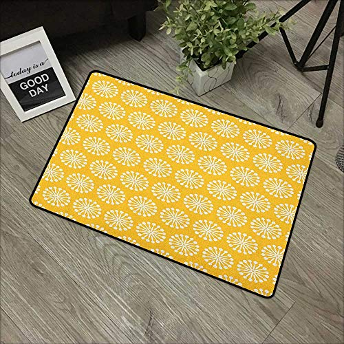 (Bedroom Door mat W24 x L35 INCH Yellow and White,Monochrome Ornament Pattern Abstract Dandelion Blossoms Shabby Colors, Marigold White with Non-Slip Backing Door Mat Carpet)