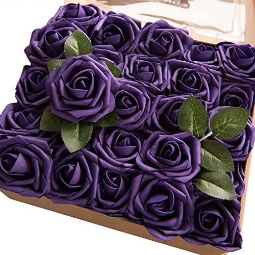 Ling's moment Artificial Flowers 25pcs Real Looking Cadbury Purple Fake Roses w/Stem for DIY Wedding Bouquets Centerpieces Bridal Shower Party Home ()