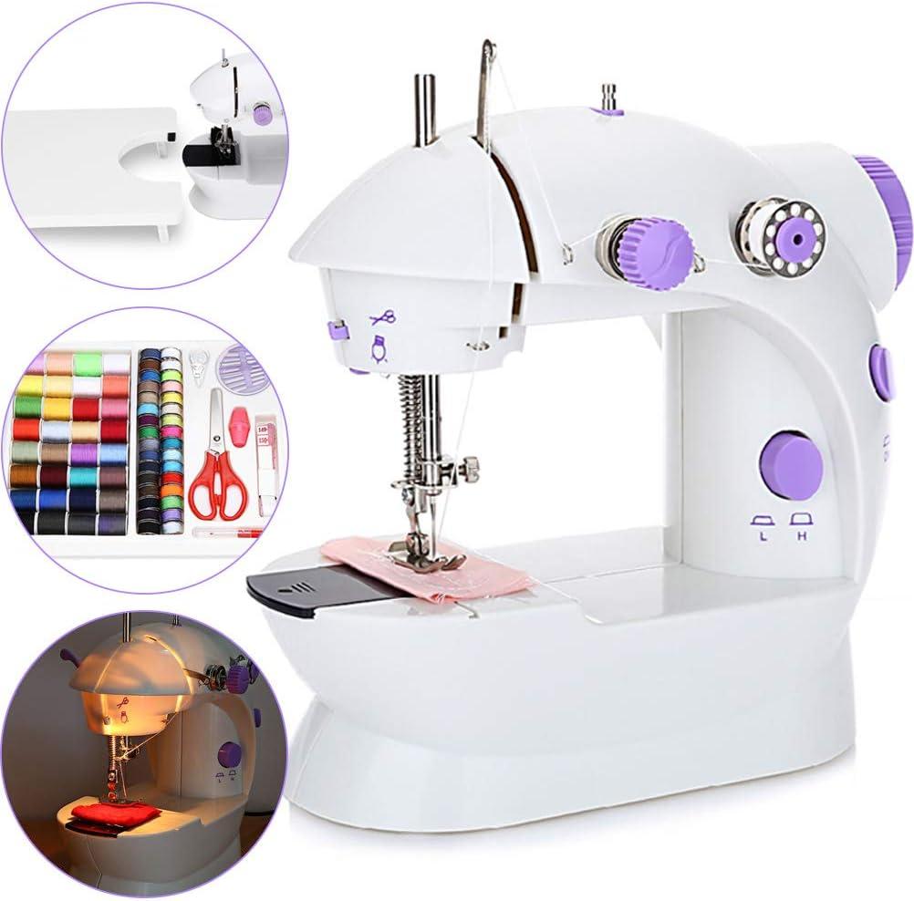 YYBF Maquina de Coser Mini Portatil, con Bobina Adicional, Aguja y Enhebrador Uso de, Pedal eléctrico de Doble Uso, LED Lámpara, con Cajón: Amazon.es: Hogar