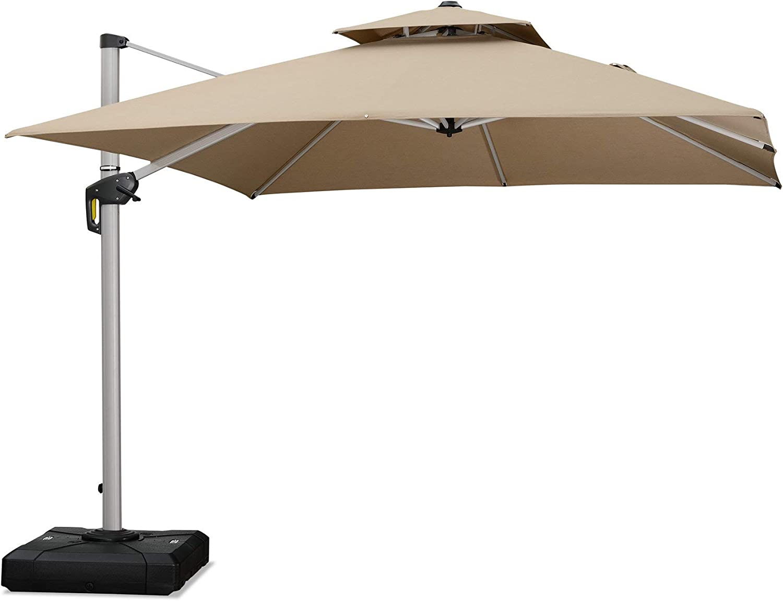 PURPLE LEAF 10 Feet Double Top Deluxe Sunbrella Square Patio Umbrella Offset Hanging Umbrella Cantilever Umbrella Outdoor Market Umbrella Garden Umbrella, Heather Beige