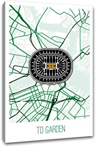 TD Garden Map Art Printed on a 16x24 Gallery Wrapped Canvas. Comes Ready to Hang on Your Wall in just Minutes. Perfect for The Traveler in Your Life.