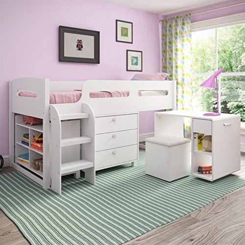 CorLiving BMG-210-B Madison Loft Bed, Single/Twin, Snow White All In One Bunk Bed