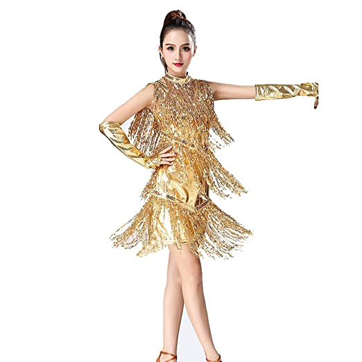 Blingstory 3pcs Evening Party Clubwear Art Deco Tassel Fringe Sequin Female Latin Dress Samba Dance Vestidos (Black, One Size) at Amazon Womens Clothing ...
