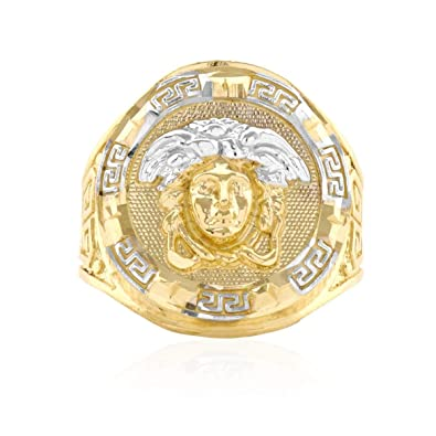 e41c6732bbefe 10k Solid Yellow Gold Diamond Cut Versace Style Medusa Round Men?s ...