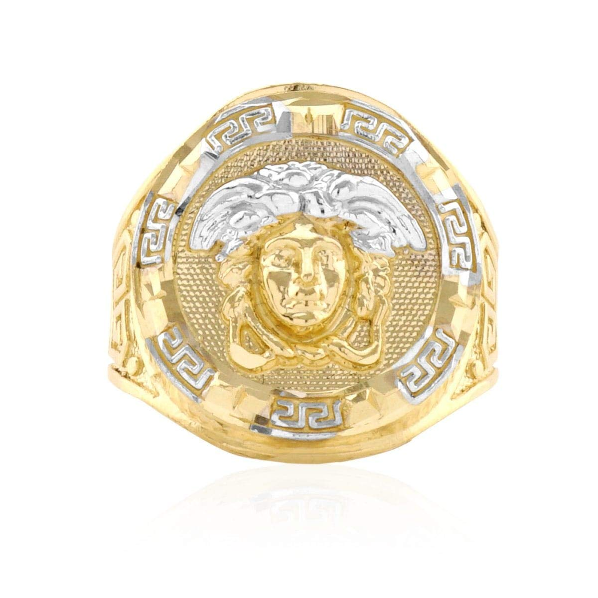 10k Solid Yellow Gold Diamond Cut Versace Style Medusa Round Men?s Signet Ring