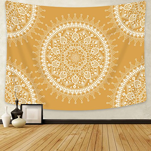 SENGE Orange Tapestry Mandala Hippie Bohemian Tapestries Wall Hanging Flower Psychedelic Tapestry Wall Hanging Indian Dorm Decor for Living Room Bedroom