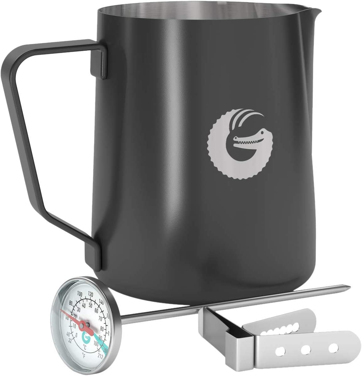 Coffee Gator Milk Frothing Pitcher - Coated Stainless Steel Milk Steamer Jug with Thermometer and Mounting Clip - Barista-Standard Latte Art - 18.5 Ounce 61xcZzEXe8L