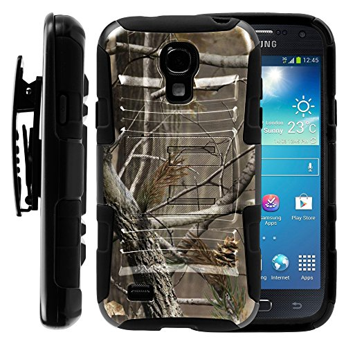 Samsung Galaxy S4 Mini Case, Samsung Galaxy S4 Mini Holster, Two Layer Hybrid Armor Hard Cover with Built in Kickstand for Samsung Galaxy S4 Mini I9190 from MINITURTLE | Includes Screen Protector - Hunter Camouflage