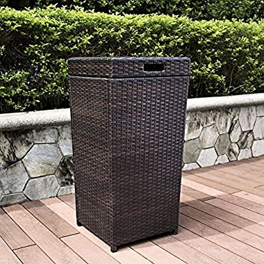 Crosley Palm Harbor Outdoor Wicker Trash Bin, Brown