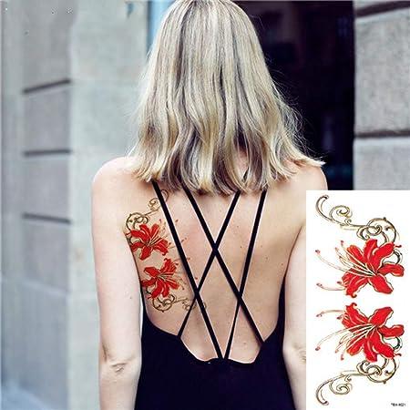 adgkitb 4 Piezas románticas Rosas oscuras Flores Tatuaje os Falso ...