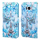 EnjoyCase Wallet Case for Galaxy S8,Colorful Tower Butterfly Pattern Pu Leather Bookstyle Card Slots Magnetic Flip Cover With Hand Strap for Samsung Galaxy S8