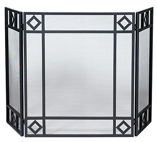 Uniflame Corporation 3 Panel Wrought Iron Fireplace Screen with Diamond Design (Uniflame Corporation 3 Panel)