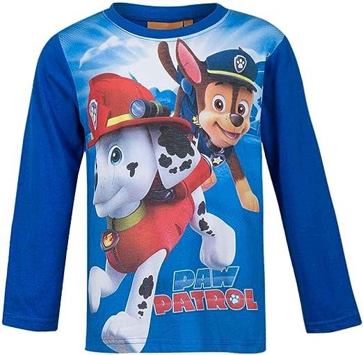 Paw Patrol Camiseta de manga larga para ni/ños Chase y Marshall
