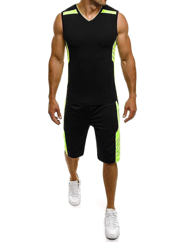 OZONEE Herren Sportanzug Trainingsanzug Shirt Kurzhose Fitness RED Fireball 8350