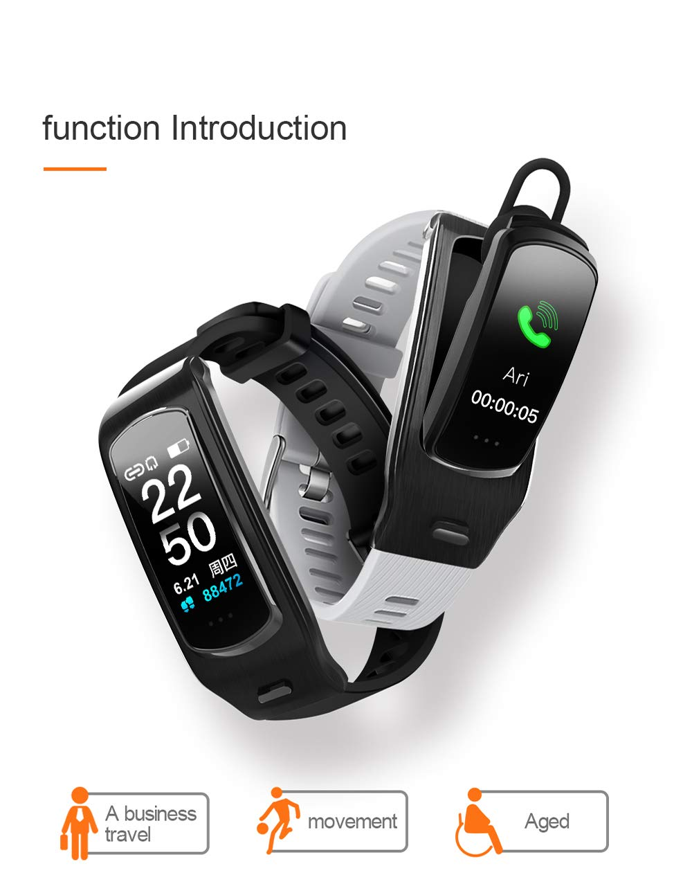 PGTC Fitness Sport Smartwatch Bluetooth Headset with Heart Rate Monitor, Blood Pressure Test, IP68 Water Resistant Smart Talkband Calorie Counter Pedometer Watch for Android and iPhone (Black) by PGTC