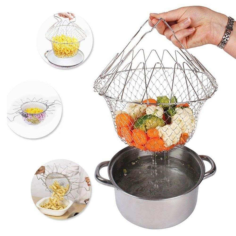 Foldable Fry Basket Steam Strainer Net, Kitchen Dining & Bar Cooking Tools Utensils,Chef Rinse Strain Magic Basket Mesh Basket for Fried Food or Fruits,Sliver,1pcs