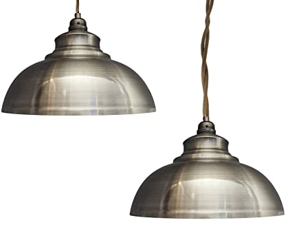 2 x modern vintage antique brass pendant light shade industrial 2 x modern vintage antique brass pendant light shade industrial hanging ceiling light ideal for dining mozeypictures Choice Image