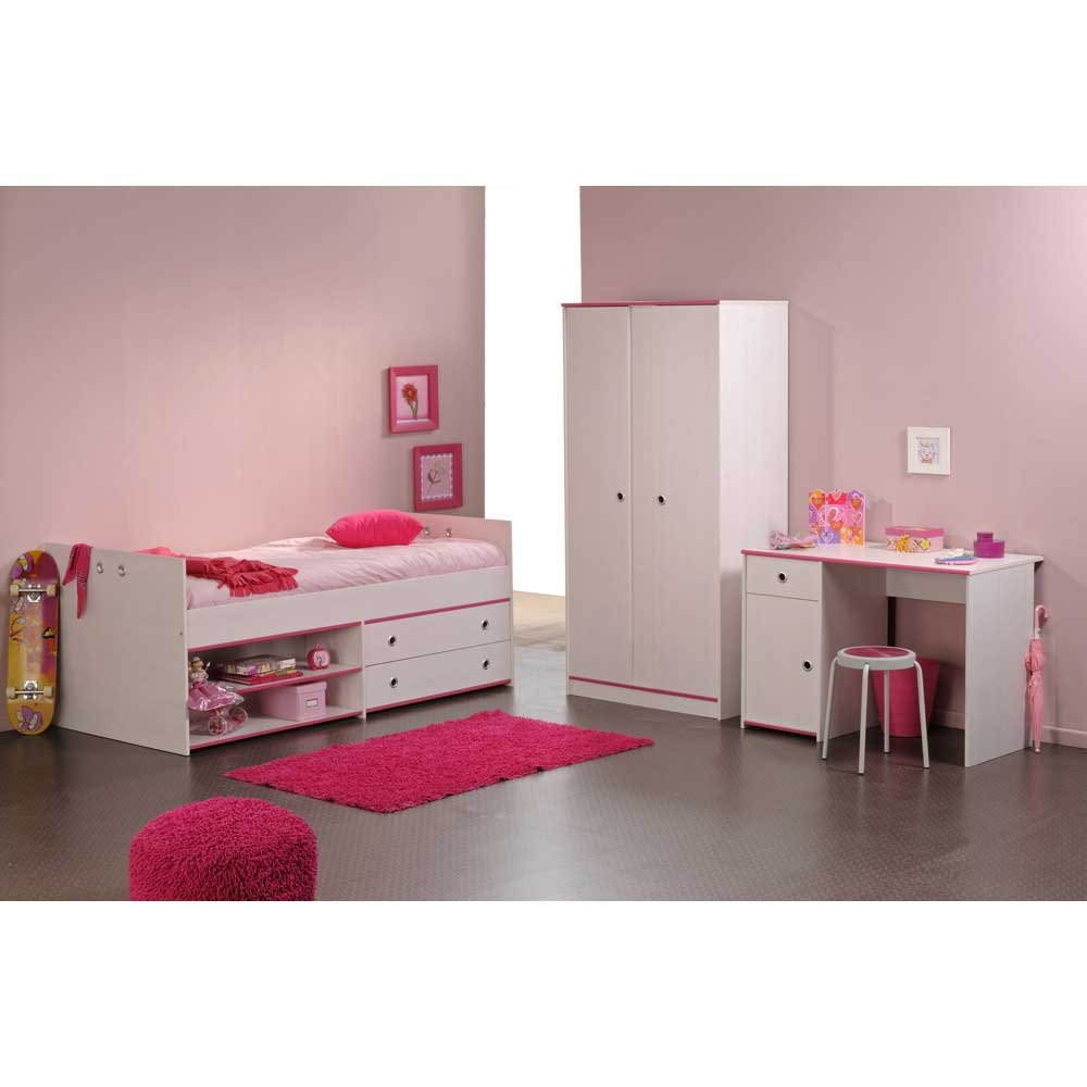 Pharao24 Kinderzimmermöbelset Clouna in Weiß Pink Blau (3-teilig)