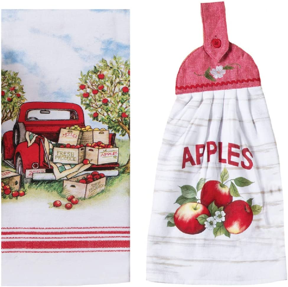 Apple Picking Vintage Themed Kitchen Towel Bundle of 2, Dual Purpose Towel and Tie Towel