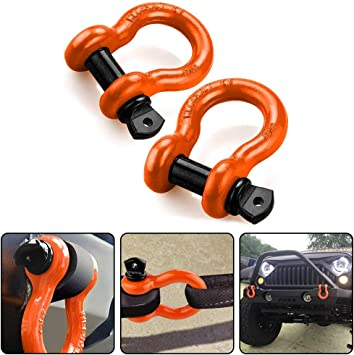 2 pack, Galvanized Maximum Break Strength with 7//8 Pin Bow Screw Heavy Duty D Ring for Jeep Vehicle Recovery Shackles 3//4 ALFA WHEELS D ring Shackle Rugged Unbreakable 28.5 Ton 57,000 Lbs