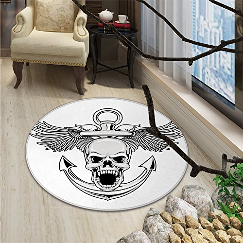 Anchor Round Rugs Skull with Anchor and Eagle Wings Freedom Devil Sea Hunter Skeleton Myth GraphicOriental Floor and Carpets Grey White