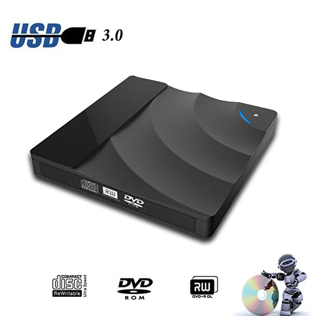 Sunreal External DVD Drive, USB 3.0 CD DVD Drive Ultra Slim Portable Touch Control CD/DVD Burner Writer Reader Player for Laptop/Desktop Computer, Support Windows/Vista/ Mac OS(Black)