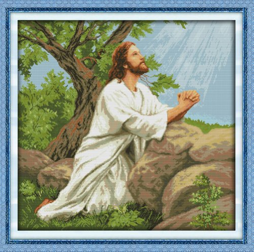 Stamped Cross Stitch Praying Jesus Beside The Tree 11 count