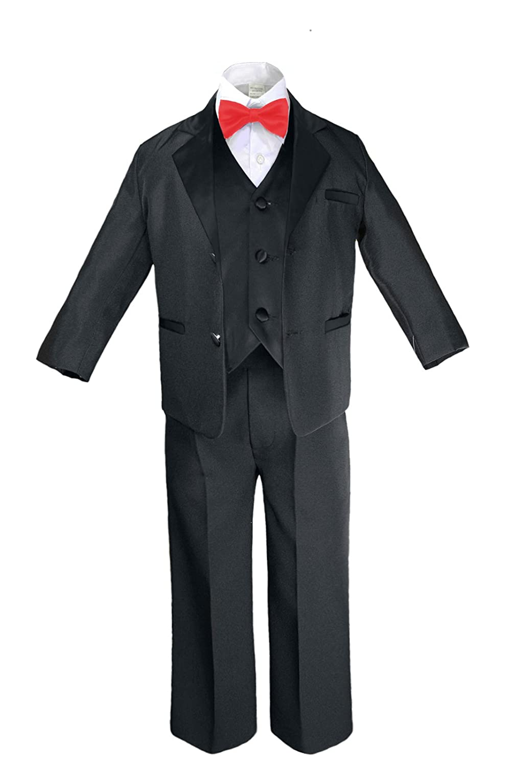 Medium: 6-12 months Formal Boy Black Suit Notch Lapel Satin Tuxedo Kid Baby Free Red Bow Tie