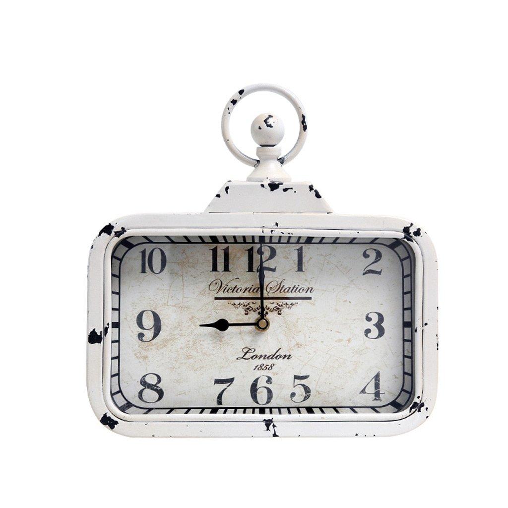 TIANTA-wall clock American retro round silent movement quartz clock ( Color : C )