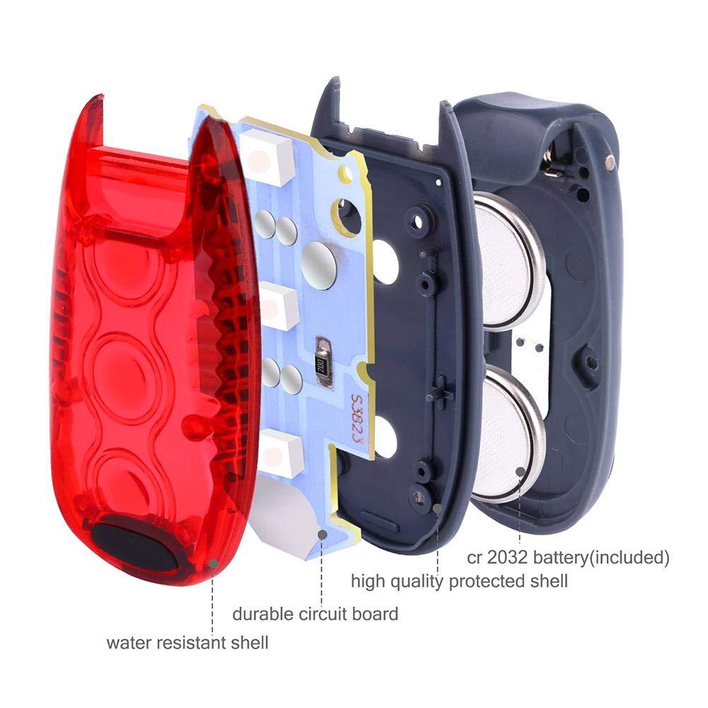 Keptfeet Luces de Seguridad LED 3 Modos Clip en luz estrobosc/ópica//luz de Marcha//Bicicleta Impermeable Cola Trasera//Intermitente Collar de Perro con Clip en Las Correas de Velcro para Correr Caminar